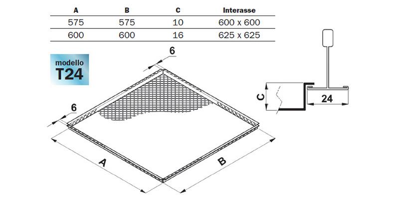 Controsoffittatura in lamiera stirata Mod. T24